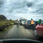 Völliges Chaos rund um den Parkplatz des Quiraing