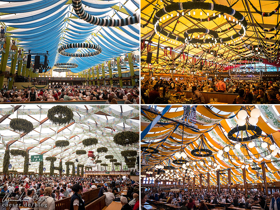 Festzelte von Hofbräu, Ochsenbraterei, Schottenhamel und Bräurosl während des Münchner Oktoberfest