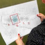 Ein Plan zur Orientierung während der Open-House-Führung durch den Gasometer B in Wien
