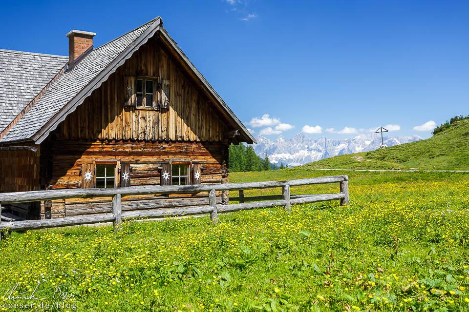 Hütte auf der Ursprungalm mit dem Dachstein im Hintergrund