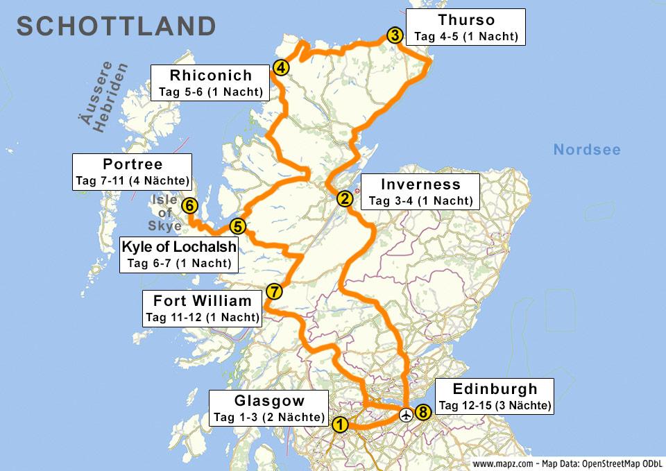 Reiseroute für 14 Tage Schottland