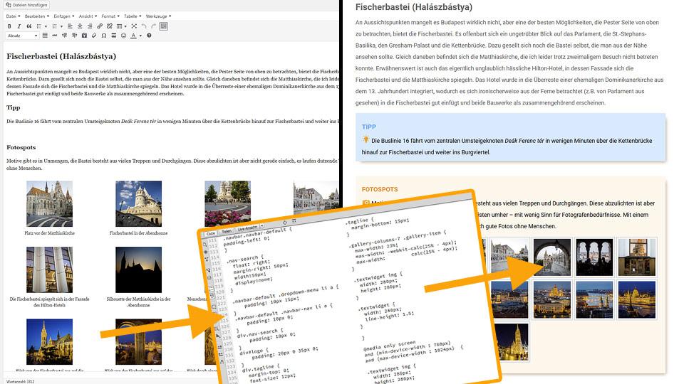 Texteditor von WordPress und CSS-Stylesheet