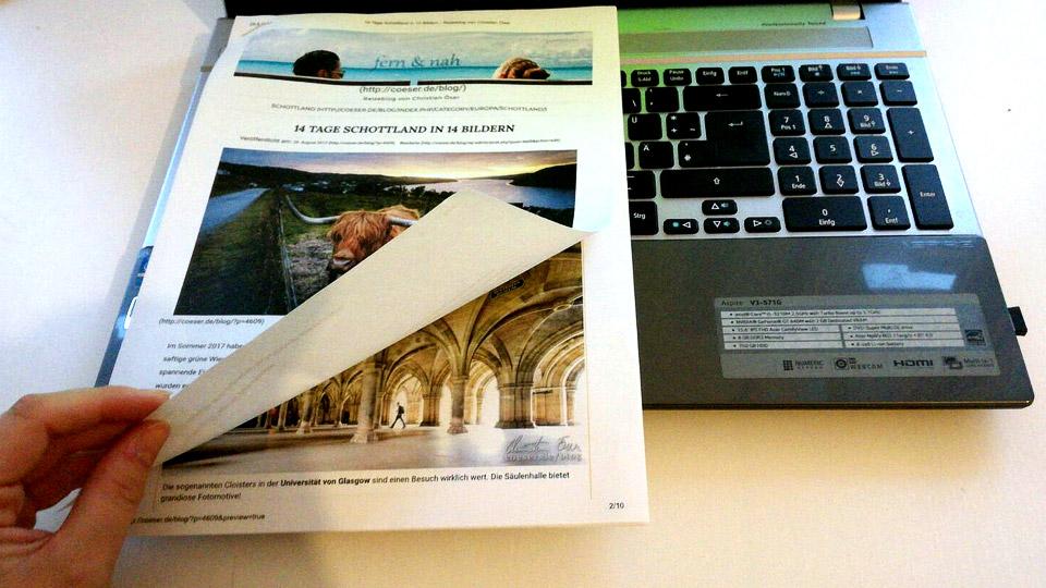 Reiseblog fern & nah in ausgedruckter Form