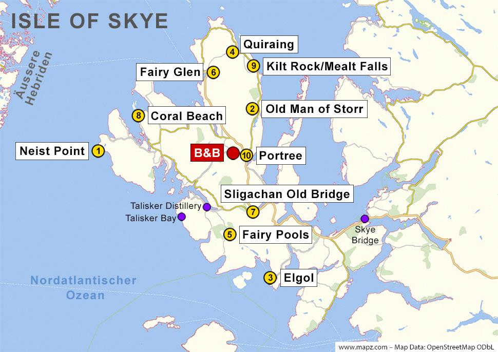 Karte der Sehenswürdigkeiten auf der Isle of Skye
