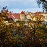 Blick vom Kuhberg auf die Burg und die Rotunde