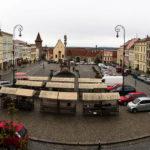 Panoramaaufnahme des Masarykplatz in Znaim vom Caffé Panorama aus gesehen