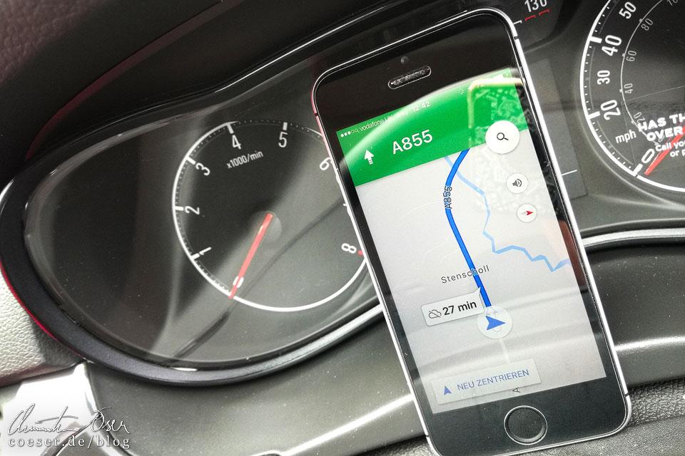 Google-Maps-App als Navigationsgerät in Schottland