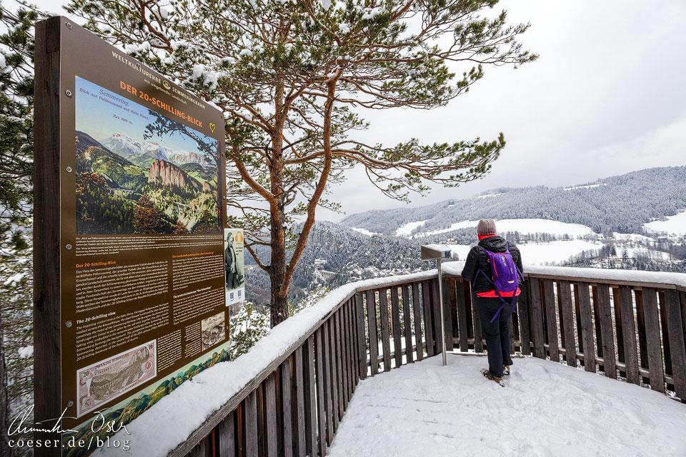 Aussichtplattform 20-Schilling-Blick auf dem Bahnwanderweg am Semmering