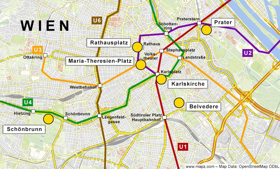 Karte von Wien mit einigen Weihnactsmärkten und den U-Bahn-Linien