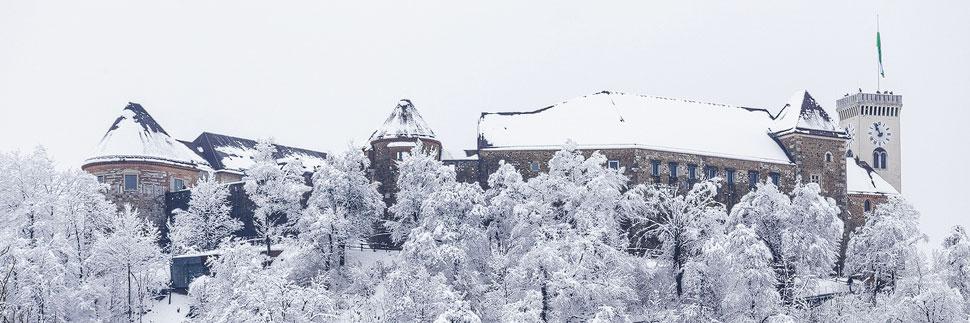 Die Burg von Lubljana im Winter