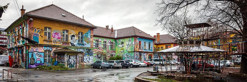 Das Viertel Metelkova in Lubljana