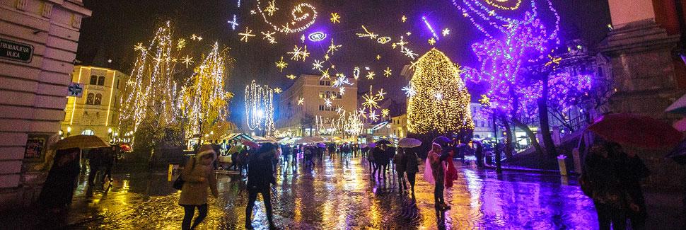 Weihnachtsbeleuchtung in Lubljana