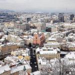 Blick vom Aussichtsturm der Burg auf Ljubljana