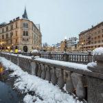 Die verschneiten Drei Brücken von Ljubljana