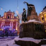 Auf dem Prešeren-Platz steht die Statue des slowenischen Nationaldichters France Prešeren