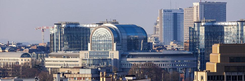 Blick vom Triumphbogen auf das EU-Viertel in Brüssel