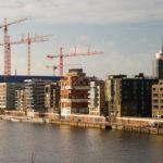 Bau der Hafencity und der Elbphilharmonie im Jänner 2009