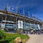 Außenansicht des Hamburger Volksparkstadions (hier noch als Imtech Arena bezeichnet)