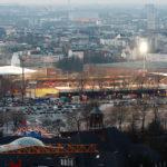 Blick auf das Millerntorstadion vom Michel (Hauptkirche St. Michaelis) aus gesehen