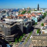 Blick vom Turm St. Nikolai auf Hamburg und den Michel