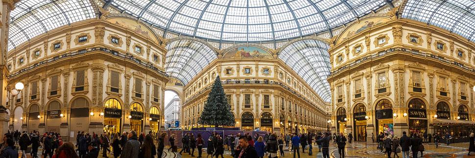 Panorama der Galleria Vittorio Emanuele II in Mailand