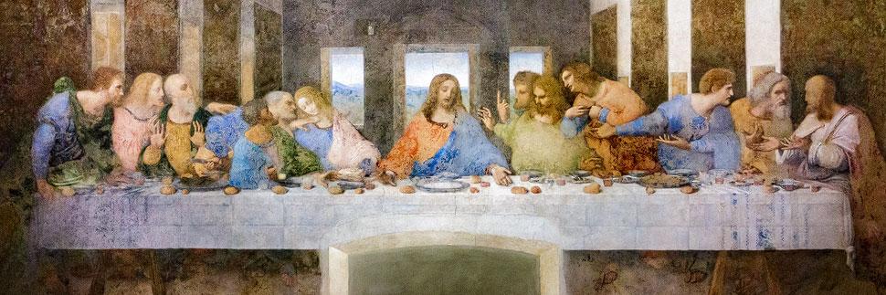 Leonardo da Vincis Wandgemälde Das Abendmahl (Il Cenacolo)