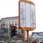 Haltestellentafel der Straßenbahn in Mailand
