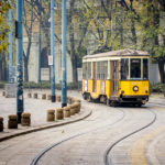 Alte Garnitur der Straßenbahn in Mailand