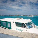 Eines der Schnellboote, mit dem man auf die Zielinsel gebracht wird