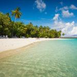 Strand und Palmen auf der Insel Meeru (Malediven)