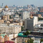 Blick auf Moskau und die Christ-Erlöser-Kathedrale, gesehen von der Kalina Bar