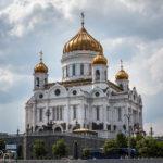 Die Christ-Erlöser-Kathedrale, gesehen während einer Bootsfahrt auf der Moskwa