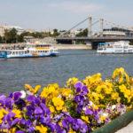 Blick vom Gorki-Park auf den Fluss Moskwa und die Krymsky-Brücke