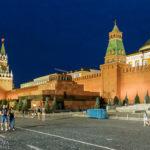 Der Kreml, der Erlöser-Turm und das Lenin-Mausoleum auf dem Roten Platz