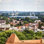 Blick vom Turm des Dom St. Petri auf das Bremer Weserstadion