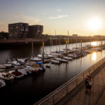Das moderne Viertel Überseestadt mit dem Europahafen