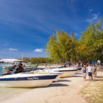 Anlegestelle der Boote auf der Insel Île aux cerfs auf Mauritius