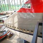 Schnauze eines Boeing 747 Jumbojets im National Air and Space Museum in Washington