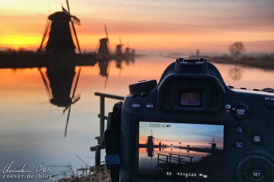 Fotografieren der Windmühlen von Kinderdijk