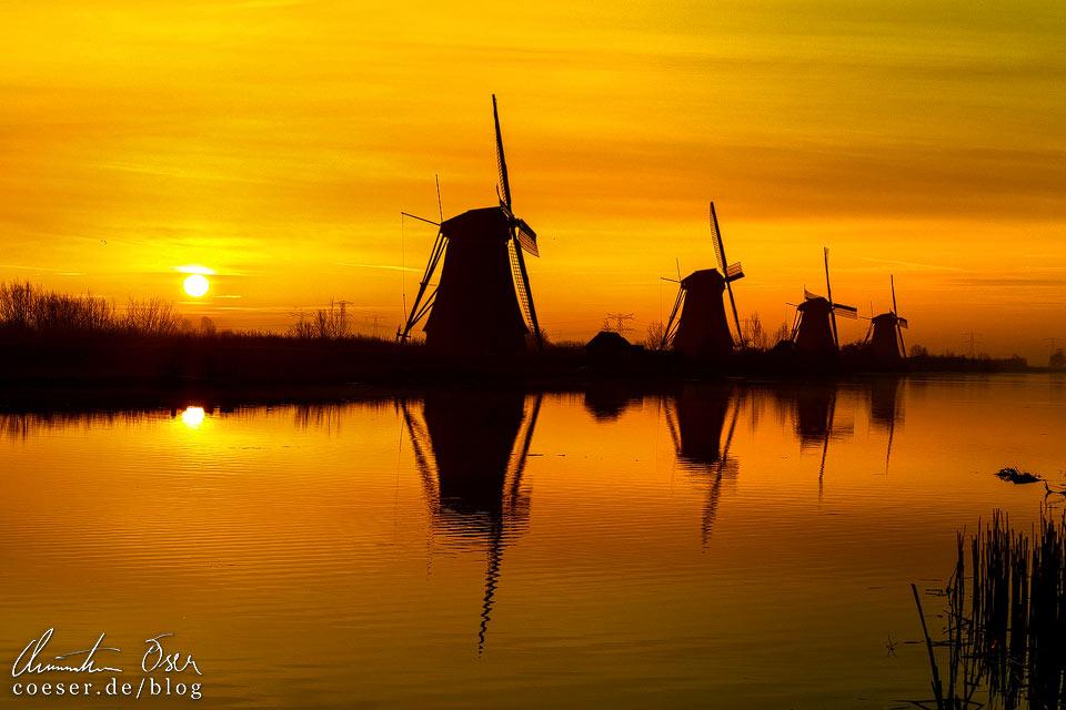 Windmühlen von Kinderdijk im Sonnenaufgang