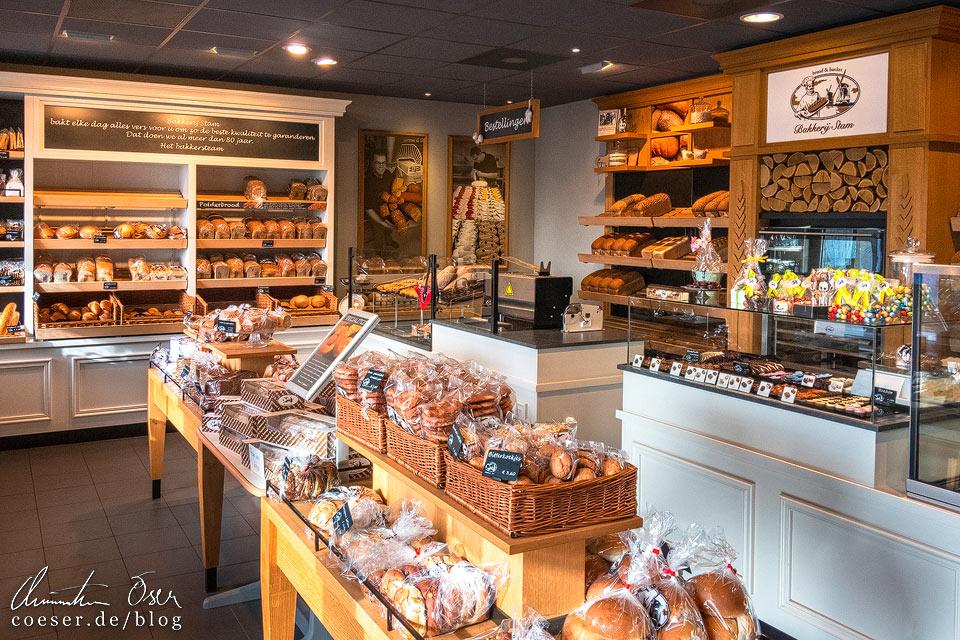 Bäckerei Bakkerij Stam V.O.F. in der Nähe der Windmühlen von Kinderdijk