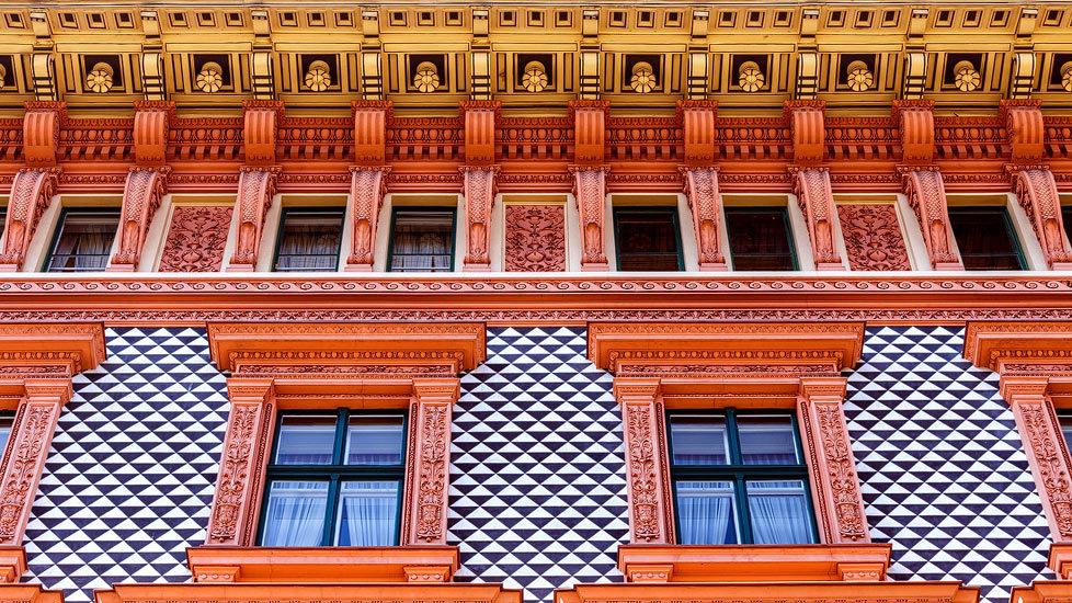 Detailansicht des Mietshauses Schottenring 23 von Otto Wagner