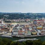 Panorama der Altstadt von Passau, gesehen von der Veste Oberhaus
