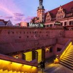 Altes Rathaus und der Abgang in die Station Markt in Leipzig