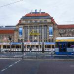 Außenansicht des Hauptbahnhofs in Leipzig
