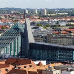 Ausblick vom Rathausturm im Neuen Rathaus auf das Paulinum und das Neue Augusteum in Leipzig