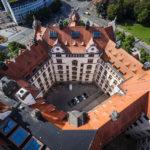 Ausblick vom Rathausturm auf Teile des Neuen Rathaus in Leipzig