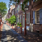 Die historische Straße Elfreth's Alley in Philadelphia