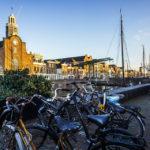 Der historische Delfshaven und die Pilgerkirche Pelgrimvaderskerk in Rotterdam