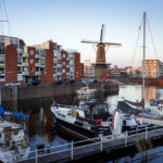 Turmwindmühle De Distilleerketel im historischen Delfshaven in Rotterdam